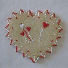 Valentine   Heart   Sugar Cookie   Lightly Decorated   By  Tamara