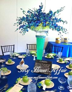 cobalt blue lime green (bride chose) Wedding flowers and custom linens by My Flower Affair.  www.myfloweraffair.com… wedding flowers,  wedding decor, wedding flower centerpiece, wedding flower arrangement.