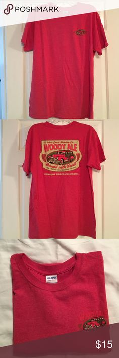 Men's short sleeve tee Men's short sleeve red size L tee shirt with small Woody Ale design on right front & large design on back. NWOT. Washed but never worn.  Gildan brand, heavy cotton & is 50%cotton/50%poly. Easy wash & wear. Non smoking environment. Pet friendly household. Gildan Shirts Tees - Short Sleeve