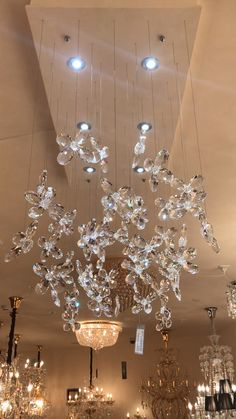 Blown Glass Chandelier, Crystal Chandelier Lighting, Unique Chandelier, Cool Chandeliers, Chandelier Ideas, Luxury Chandelier, Accent Lighting, Fancy Ceiling Lights, Room Lights