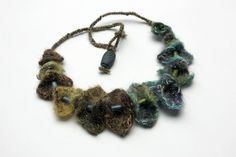 Handmade needle felted necklace with wooden beads by rRradionica, $93.00