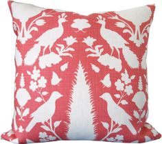 Schumacher-Coral and Ivory Birds,Trees-Designer Decorative Pillow Cover-Accent Pillow-Sofa Pillow-Toss Pillow-Single Sided