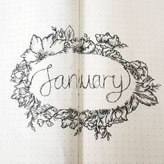 Bullet journal monthly cover page, January cover page, flower drawings, floral drawings, wreath drawing.   @sojourney_ling