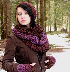 SET AIR Rasta Love Cowl Hood Vegan scarf slouch hat por HookedWear