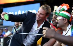 Shane Warne takes a selfie with Indian fans, Australia v India, World Cup semi-final, Sydney, March 2015 Shane Warne, India Win, Self Promotion, Semi Final, Selfie Time, World Cup, Finals, Cheer, Highlights