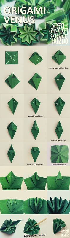 How to make an origami kusudama cactus part I. - folding the venus unit