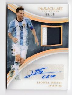 LIONEL MESSI 08/10  Panini IMMACULATE SOCCER PATCH AUTOGRAPH #Argentina Messi Argentina, Lionel Messi, Trading Cards, Soccer, Meme, Baseball Cards, Sports, Hs Sports, Futbol