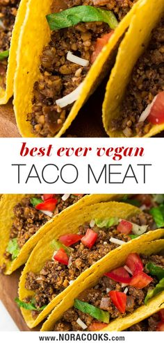 Vegan Taco Meat is made entirely of plants! Generously seasoned with spices, it's perfect for tacos, burritos, salads, quesadillas or nachos. Vegan Foods, Vegan Dishes, Vegan Meals, Delicious Vegan Recipes, Vegetarian Recipes, Healthy Recipes, Meat Recipes, Cooking Recipes, Food Substitutions