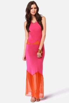 Check it out from Lulus.com! Enjoy the splendor of silk in a bright new way with the Gypsy Junkies Alexandria Orange and Fuchsia Silk Maxi Dress! Spaghetti straps in sweet fuchsia silk travel to a luxurious maxi-length hem past a sultry row of sheer orange triangles at the waist. An additional panel of orange at the hem adds the cuteness of color block to this bold and beautiful look. Unlined. Model is wearing a size small. 100�0Silk. Hand Wash Cold. Imported.