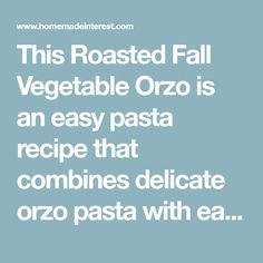This Roasted Fall Vegetable Orzo is an easy pasta recipe that combines delicate orzo pasta with easy roasted fall vegetables. Easy Pasta Recipes, Salad Recipes, Dinner Recipes, Roasted Fall Vegetables, Veggies, Barber Foods, Best Baked Sweet Potato, Orzo Salad, Dinner Tonight