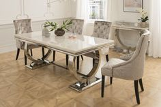 The Arabella 6 Seater Dining Set with 4 or 6 Chairs - Dining Set - Ideas of Dining - Arabella Dining Set with standard chairs chairs) Mirrored furniture Sparkle Diamond House of Sparkles Dinning Table Design, Marble Top Dining Table, Glass Dining Room Table, Dining Set, 4 Seater Dining Table, Dining Chairs, Luxury Dining Room, Cream Dining Room, Decoration