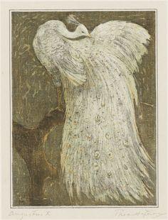 Witte pauw op tak, Theo van Hoytema, 1878 - 1910