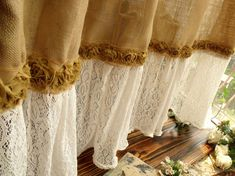 "72"" SHABBY Rustic Chic Burlap SHOWER Curtain Lace Ruffles FLOWER French Beach Farmhouse on Etsy, $88.00"