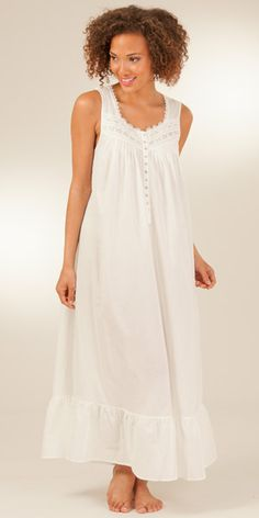 I'd love this, but shorter, mid-upper thigh length? White Cotton Nightgowns - Eileen West Long Sleeveless Gown in Catalonia Cute Lazy Outfits, Pretty Outfits, Beautiful Outfits, Long Cotton Nightgowns, White Nightgown, Lingerie Collection, Modern Fashion, Night Gown, Lounge Wear