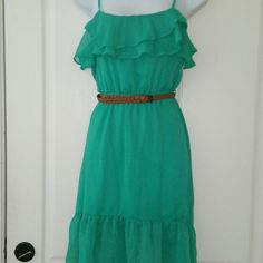 """SALE Poetry Mint Green Ruffle Dress Adorable Poetry Mint Green Ruffle Dress The back is longer than front 34"""" from top of shoulder to bottom in front and 38"""" from top of shoulder to bottom in back adjustable shoulder straps Poetry Dresses"""