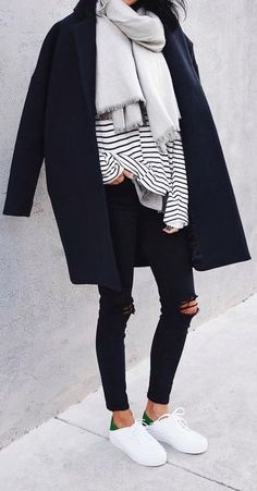 #fall #fashion / stripe + layers
