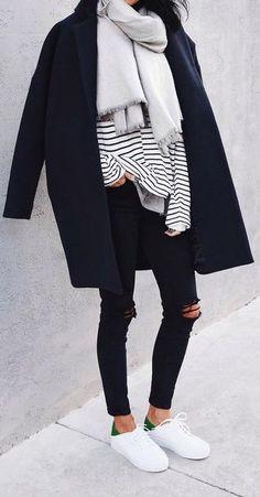 #fall #fashion / stripe + layers