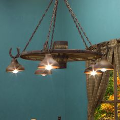horse shoe wagon wheel chandelier
