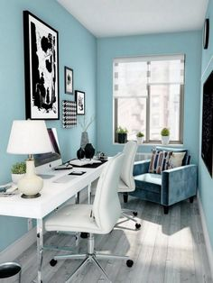 Turquoise clair Home Office Light Turquoise Home Office Turquoise clair Home Office The post Turquoise clair Home Office appeared first on New Pics. Interior, Home, White Desk Furniture, Home Office Design, Blue Home Offices, Light Blue Living Room, Living Room Grey, Blue Living Room Decor, White Rooms