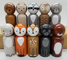 Woodland Animal Peg Doll Set, Wooden Animals, Woodland Nursery Decor, Wooden Forest Creatures