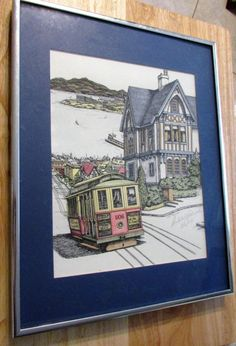Fun Vintage Signed Lithograph Picture San Francisco STREETCAR and Painted Lady Victorian House Debbie Patrick 1988