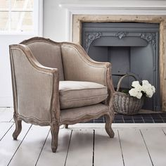 Betsy Winged Armchair - Natural Linen