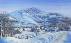 """Fabrice TIXIER """"Arrens sous la neige"""" pastel 40 x 65 SBD"""