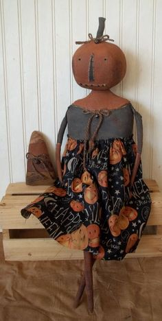 Primitive Grungy Halloween Pumpkin Lady Doll & Her Candy Corn #NaivePrimitive