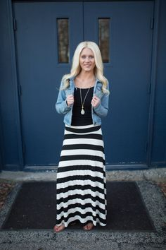 941a5e029ac7 Chambray shirt w/ black & white striped maxi skirt | My fashion diary... |  Maxi skirt style, Striped maxi skirts, Black maxi skirt outfit