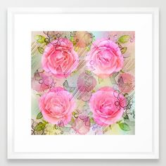 Pink roses on a painterly background Framed Art Print