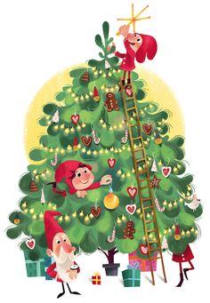 by Olga Demidova Christmas Gnome, Winter Christmas, Vintage Christmas, Merry Christmas, Winter Illustration, Nature Illustration, Christmas Illustration, Christmas Images, Christmas Greetings