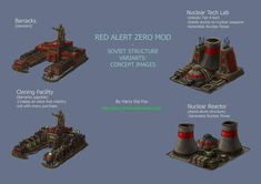 Some more structure concepts; Barracks (Top left) Borrowing from the 'traditional' RTS barracks format of a horseshoe structure. RA Zero- Nuclear and Cloning Film Games, Nuclear Reactor, Command And Conquer, Lab Tech, Game Concept Art, The Unit, Deviantart, Zero, Fox
