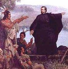 Father Jacques Marquette with Indians. The Jesuits became involved in the Huron mission in 1626 and lived among the Huron peoples. Father Brebeuf learned the native language and created the first Huron language dictionary. Due to outside conflicts, though, the Jesuits were forced to leave all of New France and their efforts as Quebec was captured by the Kirke brothers under the English flag. Jesuits were back in Huronia by 1634