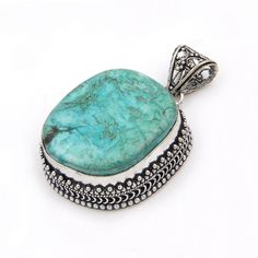 Handmade Wholesale Indian Designer offer Solid 925 sterling Silver pendants  with Tibbetian Turquise gemstone
