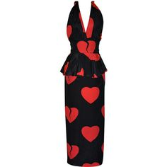 """Pre-owned Moschino Couture """"Hearts"""" gown/disco dress (£1,205) ❤ liked on Polyvore featuring dresses, gowns, hearts, moschino, cocktail dresses, evening dresses, short black dresses, holiday party dresses, black dress and short evening dresses"""