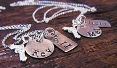 His and Her Necklace Hand Stamped His & by OrganicRustCreation, $78.00