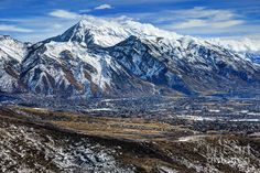 Wasatch Mountains Photograph - Mt. Timpanogos In Winter From Utah Valley by Gary Whitton