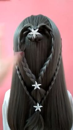 Cute Simple Hairstyles, Cute Girls Hairstyles, Straight Hairstyles, Girl Hairstyles, Hair Up Styles, Medium Hair Styles, Hair Style Vedio, Life Hacks Hair, Nova Hair