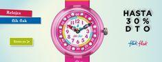 Promoción en #relojes #FlikFlak. 20% dto. Hasta 30 modelos diferentes para que tu niño aprenda el manejo de las horas. Más ofertas y promociones en nuestro #outlet #online http://www.entretiendas.com