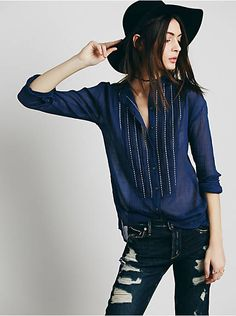 Free People FP ONE Rhythm of Love Buttondown, $78.00