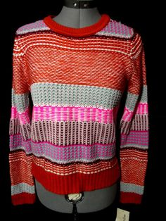Nwt REWIND Color Block Knit Sweater Top womens S Pink Turquoise Nordic long slv #Rewind #Pulloversweatercowlribbedknittopnordic
