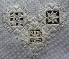 Mary Joan Stitching: Progress on Hardanger Heart