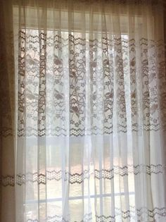 White sheer curtains with purple flower design 60 x 62 white one pair of charming white lace curtains with floral design mightylinksfo
