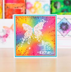 Live, Life, Now! See the Live Launch of Visible Image Stamping on C&C this Sat, Dec at / Cardmaking / Papercraft / Scrapbooking / Craft Image Stamp, Cardmaking And Papercraft, Distress Oxide Ink, Colour Combinations, Butterfly Cards, Tim Holtz, Cricut Ideas, Paper Crafting, Live Life
