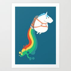 Buy Fat Unicorn on Rainbow Jetpack by Budi Satria Kwan as a high quality Art Print. Worldwide shipping available at Society6.com. Just one of millions of…