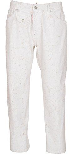 Dsquared2 Men's Work Wear Jean White Paint Dipped Distres…