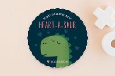 Heart-A-Saur by Oma N. Ramkhelawan at minted.com, dinosaur valentine, valentine's for boys, school valentine's day cards, cute dinosaur, classroom valentine's for boys, fun valentine's