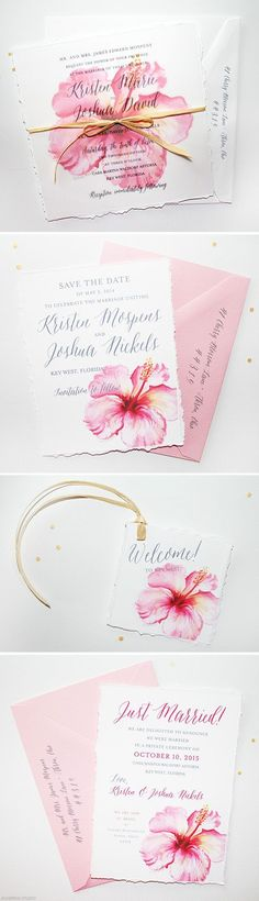 Floral Watercolor Wedding Invitations - The design features original watercolor hibiscus flower art, hand torn edging, and a hand tied tropical wraphia bow. A Signature favorite at www.mospensstudio.com