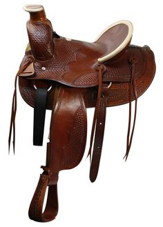 This saddle features basket weave tooling on skirts, pommel, jockeys, fenders and on the hard seat. Both horn and cantle have rolled rawhide.