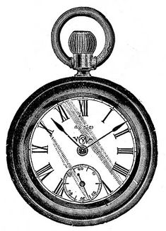 """Vintage Clip Art - Antique Pocket Watch  This is a nice old antique pocket watch from an 1880's advertisement. This would be great in an Alice in Wonderland or Steampunk project!"""